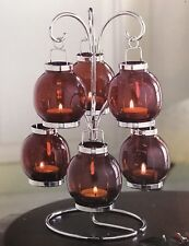 Christmas Decorations Red Glass Candle Tree With 6 Tea Lights Home Accents NEW