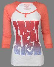 TRUE RELIGION Womens LS Raglan T-Shirt HIPPIE SURF Rhinestones $68 Jeans NWT