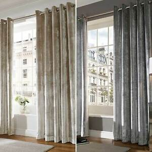 Velvet Designer Ready Made Lined Eyelet / Ring Top Curtains / Drapes LUX