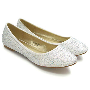 Womens Bridal Diamante Shoes Ladies Sparkly Slip On Bridesmaid Pumps Size 3-9