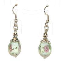 E188 Green Lampwork Glass Silver Tibetan Cap w Brass Hooks Dangle Earrings 1pr
