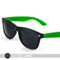 80s Neon Summer Black Frame Green Arms Party Sunglasses Retro Smoke Lens S074