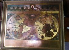 "Framed Vintage Old World Gold Foil Blaeu Wall Map 21""x17.5 """