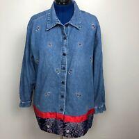 Lemon Grass Women's Size 22W Denim Shirt Button Down Embroidered 100% cotton