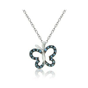 Sterling Silver Nano Simulated London Blue Topaz Butterfly Necklace