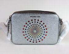 New Michael Kors Ginny MD Camera Bag  metallic leather Bag lights up fireworks