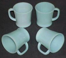 4 FIRE-KING TURQUOISE BLUE B1212 D-HANDLE MUGS CUPS c.1950 AZURITE DELPHITE ~NM~