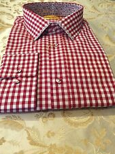 New Mens Brio Red Checkered With Design Collar, Size XL & XXL.