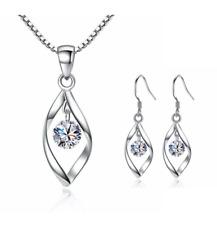 925 Sterling Silver Zircon Leaf Drop Earrings Pendant Necklace Set Jewellery