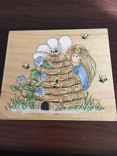 STAMPS HAPPEN Rubber Stamp BUMBLE BEE KEEPER FAIRY HIVE FLOWERS 70025
