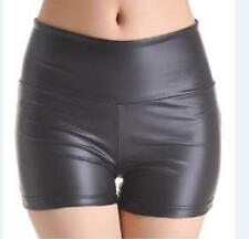 Women's Stretchy Leather Look High Waist Short Pants Leggings Hot Shorts Size XL