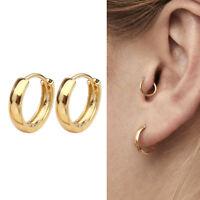 Gold Plated 925 Sterling Silver Plain Small Hoop Huggie Earrings 11mm Men Women
