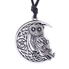 Owl Moon Crescent Star Necklace Pendant Silver Celtic Knot