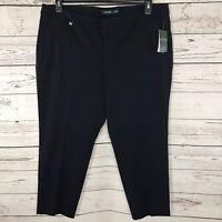 Lauren Ralph Lauren Womens Plus 20W Pants Cropped Pockets Flat Front Navy Blue