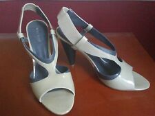 Nine West Beige/Gray Patent & Leather Slingbacks, Block Heel, Size 9.5, Dollface