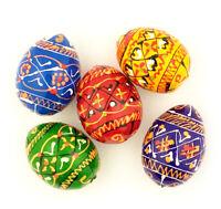 Pysanky Pisanki Handpainted Ukrainian Wooden Easter Eggs Pack of 5 Table Decor