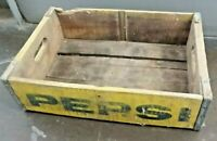 Antique Pepsi Cola Soda Wooden Crate Case Carrier Advertising Yellow Print