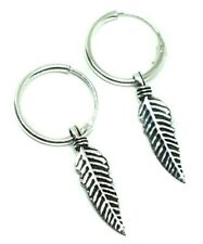 925 Fine Sterling Silver Feather Hoop Earring For Men Brand New Huggie Style x 2