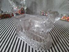 Htf Vtg Antq Bernese Mtn Dog & Wagon Cart Glass Candy Holder Container St Bernar