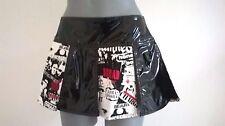In PVC Nero Punk Rock Goth Rosso Bianco Graffiti Minigonna 10 - 12