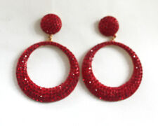 Butler and Wilson Red Crystal Small Flat Hoop Earrings NEW