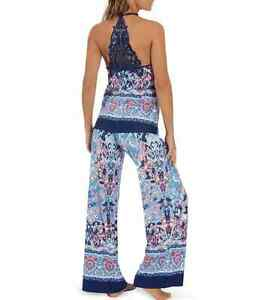 NWT In Bloom by Jonquil Blue/Coral MOSAIC TILE Slinky Knit Pajama/Lounge Set XL