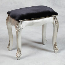 French Style Antiqued Silver & Black Velvet Dressing Table Stool 40 cm High