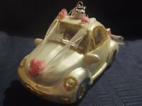 Xmas Ornament Glass Figural White Pink Blown Glass CAR w Original Box Automobile