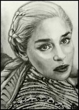ACEO original SKETCH CARD • • DAENERYS TARGARYEN • Game of Thrones •