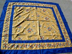 NEW Blue & Gold Victorian Heart 60 X 60 Tablecloth 100% Cotton VHC Brands