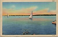 Buckeye Lake Ohio Sailboat Swimmers 1933 Linen Postcard - Posted to Uhrichsville