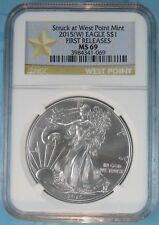 2015 (W) NGC MS69 SILVER EAGLE STRUCK AT WEST POINT FIRST RELEASES STAR LABEL