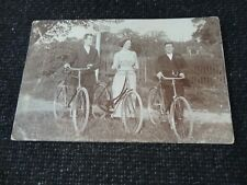 More details for social history postcard young woman & men with bicycles at hasketon woodbridge s