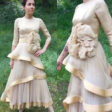 S BALIAN DESIGNS Vtg Cream Dress Sz 2 4 Designer Couture golden satin rings lace