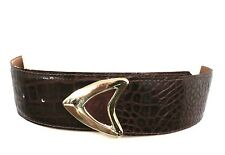 Vintage 1980s Cordovan Alligator Stamped Leather Belt ladies Wide Cordovan