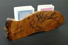Wooden Playing Card Holder, Handmade Poker Game Deck Cabin Decor Rustic Wood