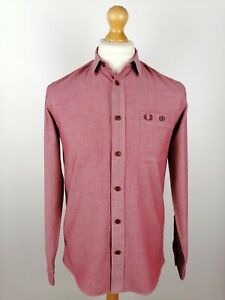Mens Fred Perry Long Sleeve Shirt (M8319) Size Small Slim Fit Red Cotton