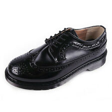 Men's Black Synthetic Leather Wing Tips Brogue Open Lacing Thick Sole Oxfords