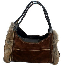 MAXX New York Suede Leather with Rabbit Fur Trim Purse Handbag
