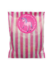Pink & white paper party bags & 60mm Pink unicorn stickers - 24 of each in pack