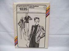 Stretch & Sew #1035 One- Button Blazer Pattern by Ann Person sz 30-42 (B)