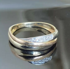 Lovely 375 Triple Band 9ct Gold & Diamond Band Ring* Size M* Fab!!