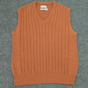 Vintage G MORRIS & CO Sweater Vest Cable Knit MADE IN USA Combed Cotton Men's L