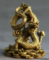 Chinese Feng shui Brass Carved Lucky Bead Zodiac Year Dragon Cion Wealth Statue