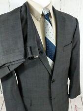 Tommy Hilfiger Mens Suit 44R 35x31 Glen Plaid Windowpane Pleated Cuffed Wool