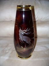 Bohemia Etched Glass Vase - Deer and Tree Pattern
