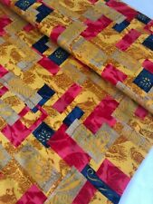 "1 Meter Gold Patchwork Print100% Pure Cotton Fabric 45""Wide Dress Craft Poplin"
