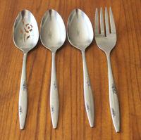 "ONEIDA ""Rose Duet"" Stainless Steel 18/8 Flatware Serving Spoon Meat Fork Lot x4"
