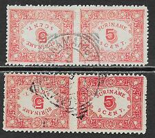 Surinam stamps 1909 NVPH 58a-59a  CANC  VF