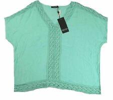 1X Plus Women's Point Zero Curvy Crochet Trim V-Neck Shirt Cap Sleeve Mint NEW